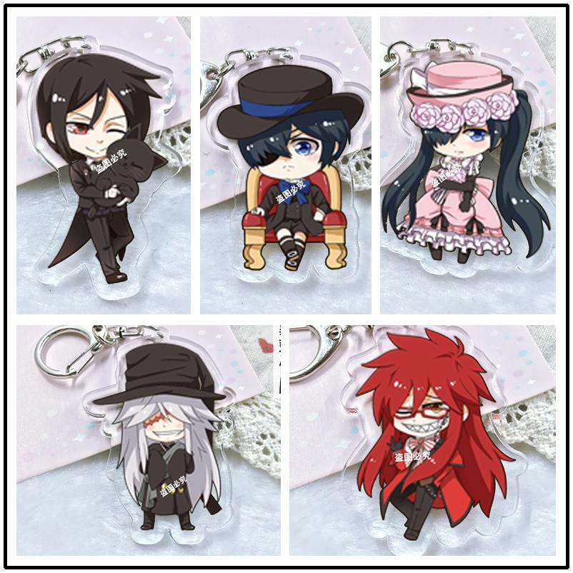 Kuroshitsuji Black Butler Anime Acrylic Keychain Pendant Keyring Cosplay Surrounding Key Chains Ornament New