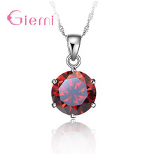 New Trendy Single Sparkling Crystals Pendant Necklace For Women Real 925 Sterling Silver Wedding Collar Jewelry Multicolor(China)