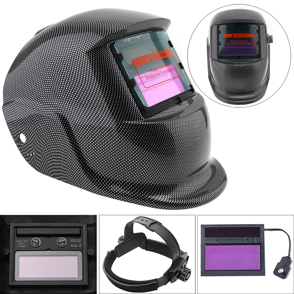 Black Square Grid Solar Power Auto Darkening Arc TIG MIG Grinding Welding Helmet Welders Mask