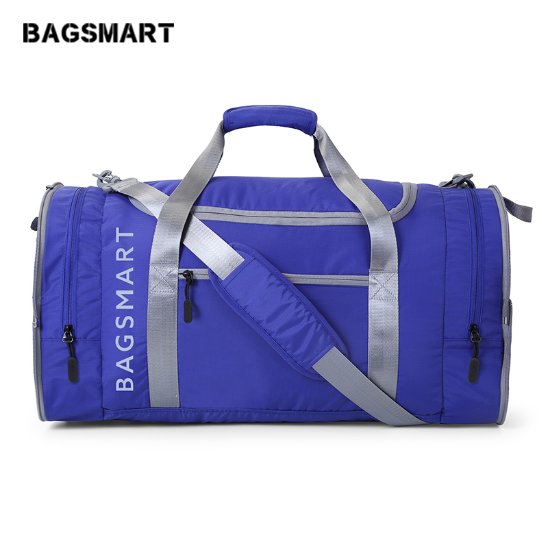 BAGSMART Men Travel Bag Folding Bag Protable Molle Women Tote Waterproof Nylon Casual Travel Duffel Bag Luggage Travel Bag Blue