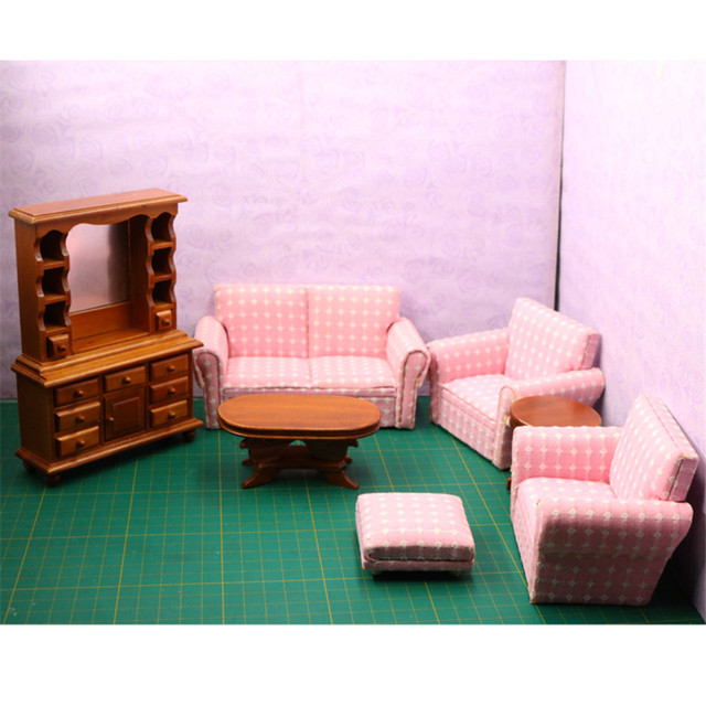 Doub K mini Furniture toy Wooden Doll Miniature living room Sofa ...