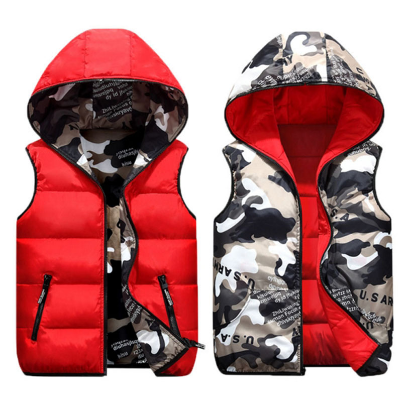Vests Children Hoodies Warm Baby Girls Outerwear Coats Kids Vest Boys Hooded Jackets Autumn Winter Down Cotton Waistcoats Vest fashion children real fox fur vest autumn winter warm baby waistcoats short thick vests outerwear kidsvest waistcoats v 12