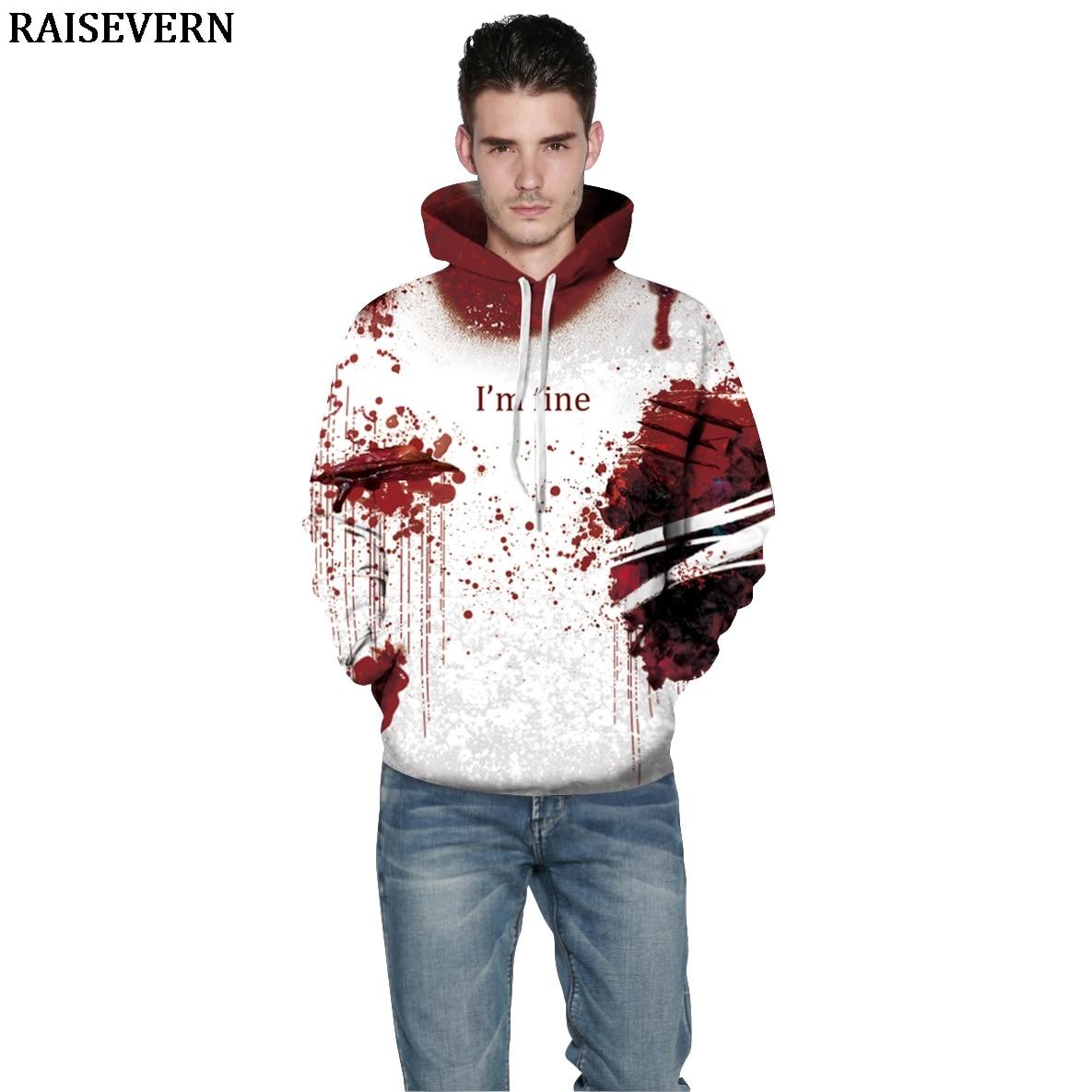 Halloween Blood Hoodies Sweatshirts Women Men I'M FINE Letter Print Jacket Coat Crop Hoodie Jumper Tracksuit Pullover Sweatshirt-in Hoodies & Sweatshirts from Men's Clothing on AliExpress - 11.11_Double 11_Singles' Day 1