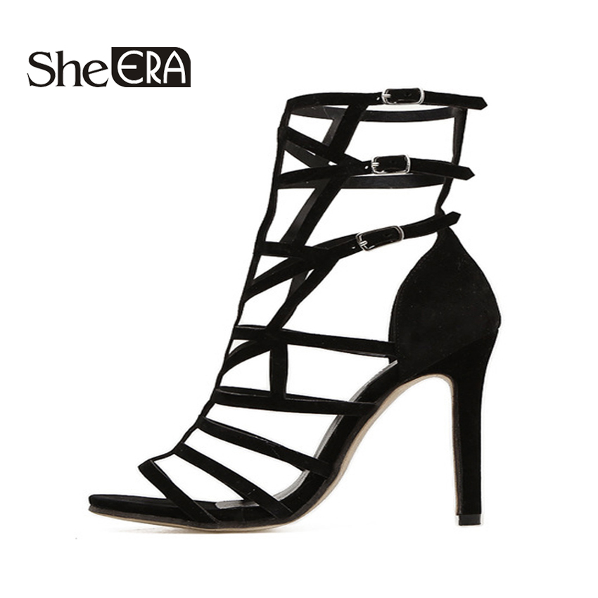 She ERA Summer Women Pumps 2018 New Gladiator Sandals Shoes for Party Hollow Peep toe Ankle Strap Buckle Pumps