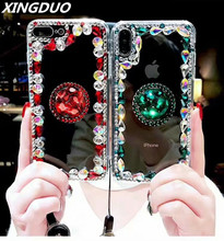 XINGDUO Luxury bling Jewelled Transparent soft back shell for iphone6 6s 7 5 8 plus Kickstand Diamond iPhone XS MAX XR