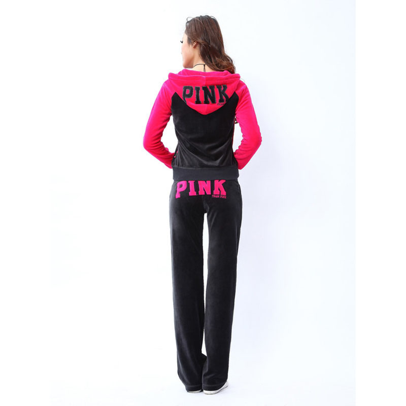 Letter Patterned Womens 2 Pieces Outfits Zipper Tops and Sweat Pants Tracksuit Set Female Velvet Sportwear S-XL
