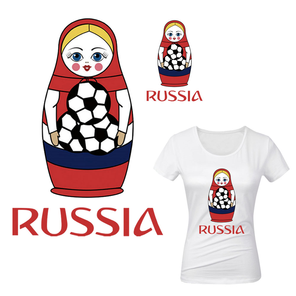 Russian Matryoshka iron heat transfer patch for t-shirt 2018 world cup parch termoadhesivos diy applique T-shirt Custom sticker