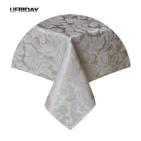 UFRIDAY New Round Rectangle Tablecloth Leaves Jacquard Waterproof Polyester Fabric Table Cover For Living Room Hotel