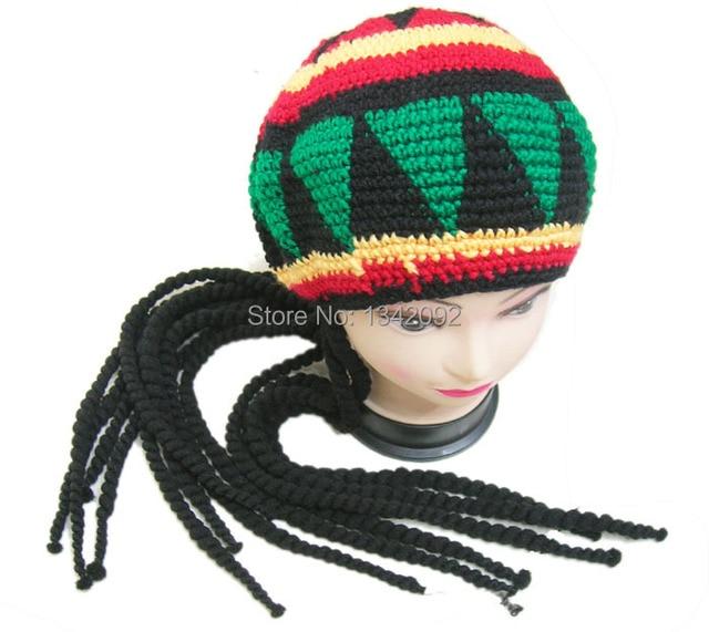 Handmade Knitted Jamaican Rasta Fancy Dancing Hat Hippie Beret Crochet Cap  With Dreadlocks Wig Plait 10PCS LOT b724e8065a8