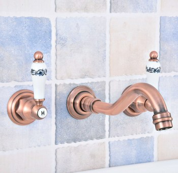 Antique Red Copper Brass Widespread Wall-Mounted Tub 3 Holes Dual Ceramic Handles Bathroom Tub Sink Faucet Mixer Tap asf524