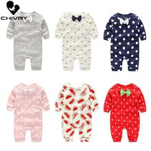 New Baby Boys Girls Rompers Autumn Long Sleeve Bowknot O-neck Dot Print Cute Jumpsuit Toddler Newborn Playsuit Infant Clothing цены