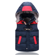 Children Outerwear Winter Coats Kids Clothes Warm Hooded Cotton Baby Girls Vest For Age 5-14 Years Old