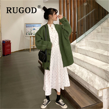 RUGOD Korean new knitted women sweater Fahion V neck single-breasted thicked ladies Cardigan Auturm winter coat