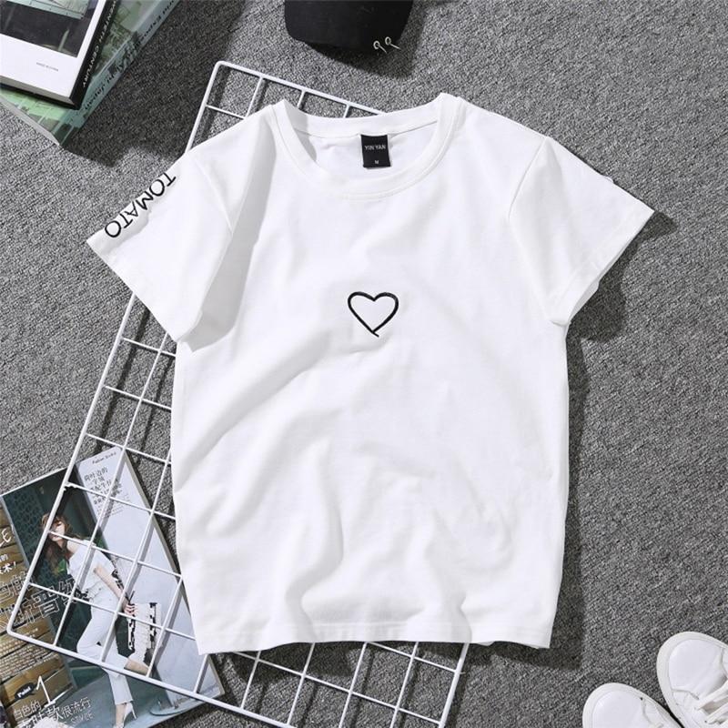 2018 Summer Couples Lovers T-Shirt For Women Casual White Tops Tshirt Women T Shirt Love Heart Embroidery Print T-Shirt Female 1