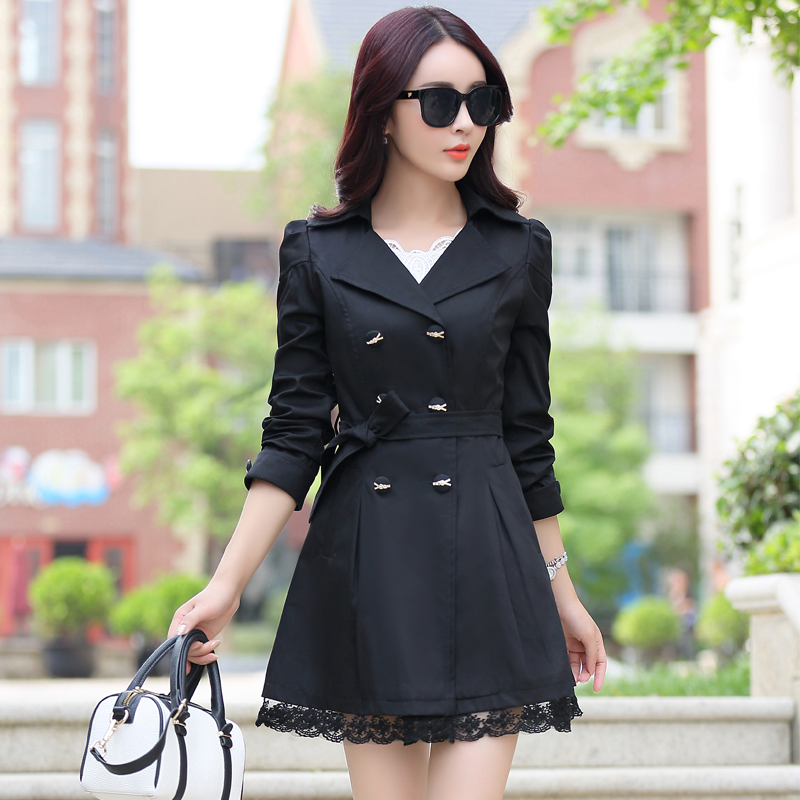 Fitaylor Lace Patchwork Medium-long   Trench   Coat Women Slim Double-breasted Bow Windbreaker Female Autumn Outwear Clothing