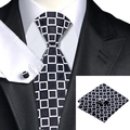 Nueva Hot Mens Tie Negro Blanco Plaid Corbata Para Los Hombres Hanky Gemelos Set Wedding Party Negocios Corbata C-1124