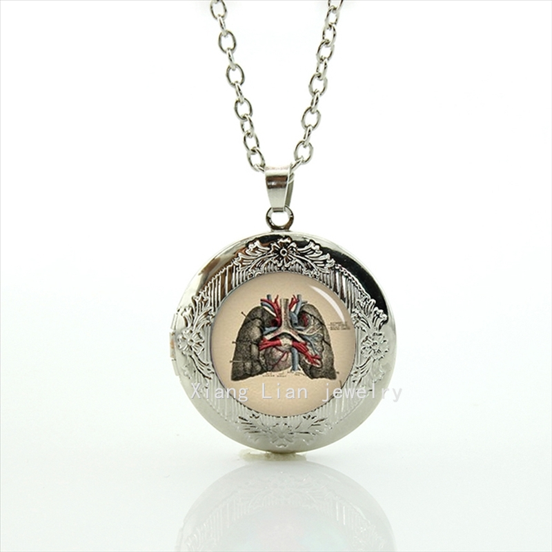 2017 Collares Maxi Necklace The Most Popular New Fashion Locket Necklace 1902 Human Anatomy, Lungs Organs, Doctor Jewelry T707