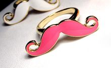 LAliExpress the cheapest price Alloy Double Beard Open Ring Black Enamel Mustache Finger Ring(China)