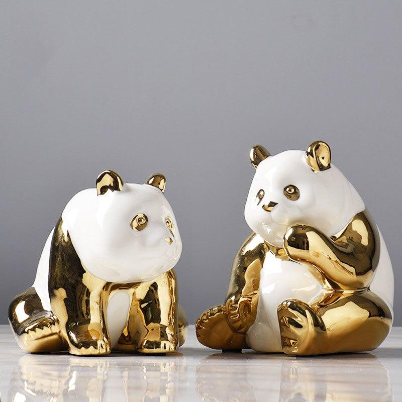 Nordique décor à la maison en céramique Panda Figurine or vanité bureau salon accessoires créatifs animaux ornements pour armoire maison