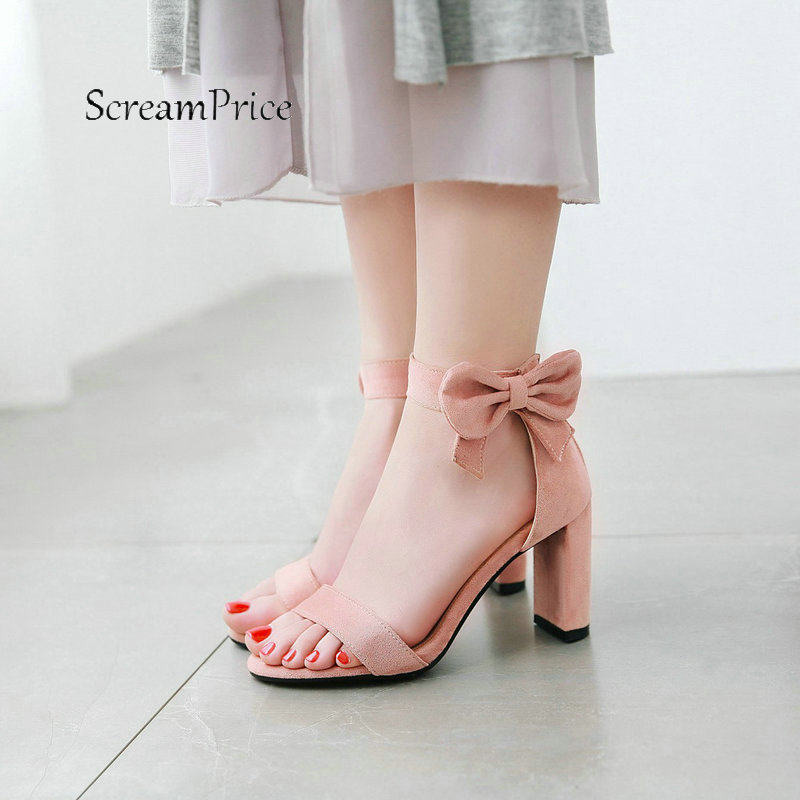 Summer Sweet Bow Knot Buckle With Back Zipper For Women Sandals Fashion Open Toe Thick High Heel Dress Shoes Black Pink Beige women platform thick high heel peep toe sandals fashion buckle cover heel dress party summer shoes black blue pink