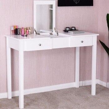 Giantex Modern Makeup Vanity Table White Bedroom Dressing Table Flip Top Desk with Mirror 2 Drawers Dresser Desks HW56631 Туалетный стол