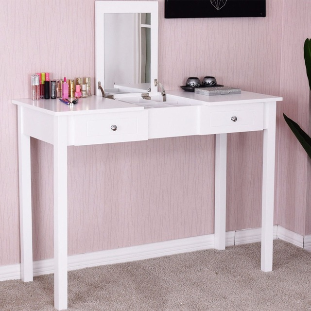 Giantex Modern Makeup Vanity Table White Bedroom Dressing Table Flip Top  Desk With Mirror 2 Drawers