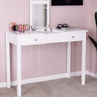 Giantex Modern Makeup Vanity Table White Bedroom Dressing Table Flip Top Desk with Mirror 2 Drawers Dresser Desks HW56631