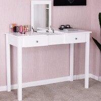 Giantex Modern Makeup Vanity Table White Bedroom Dressing Table Flip Top Desk With Mirror 2 Drawers