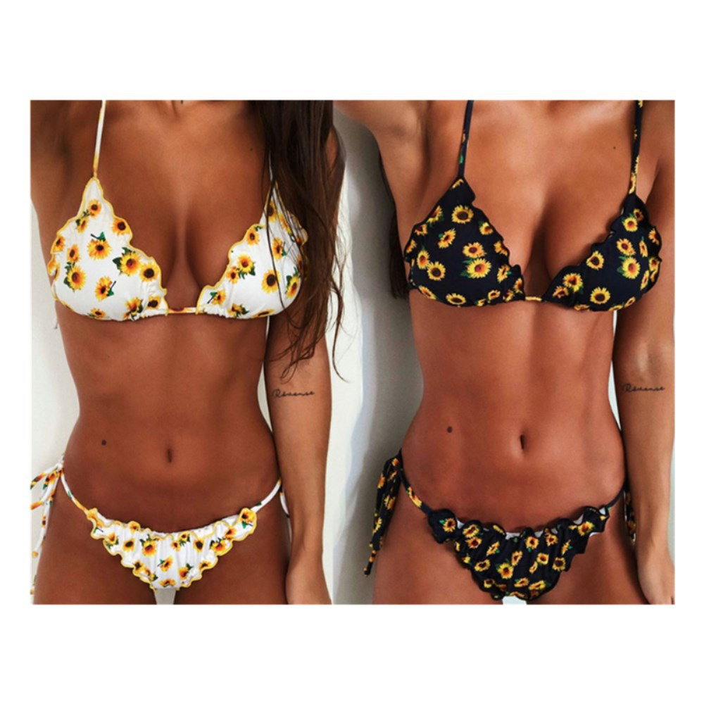 Bathing Suits Split Sun Flower Bikini 2019 Sexy Swimsuit Swimwear For Women Beachwear