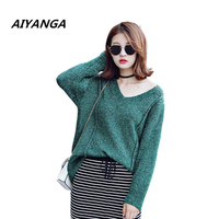 Big Size Loose Knitting Sweater For Women Long Sleeve V Neck Pullovers Knitted Tops Medium Long