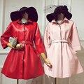Leather Promotion Jacket Women New Arrival Chaquetas De Cuero Mujer The 2017 Dust Coat Lapels Accept Waist Fashion Pu In Long