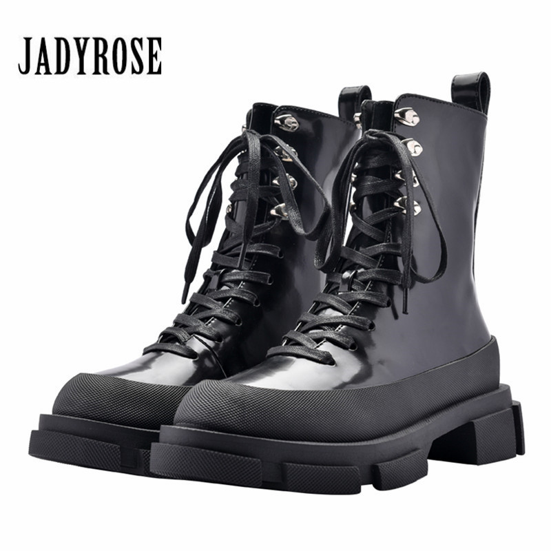 Jady Rose Punk Style Black Women Ankle Boots Thick Heel Creepers Riding Boots Lace Up Autumn