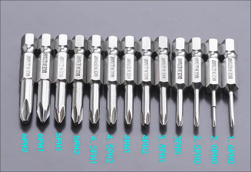 13pcs Magnetic S2 Steel Philips Hex Screwdriver Bits Drill Set PH00-PH2 50mm