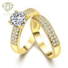 New Trendy Gold/White Gold Color Two Engagement Rings with CZ Fashion Wedding Rings Jewelry for Women Christmas Gift