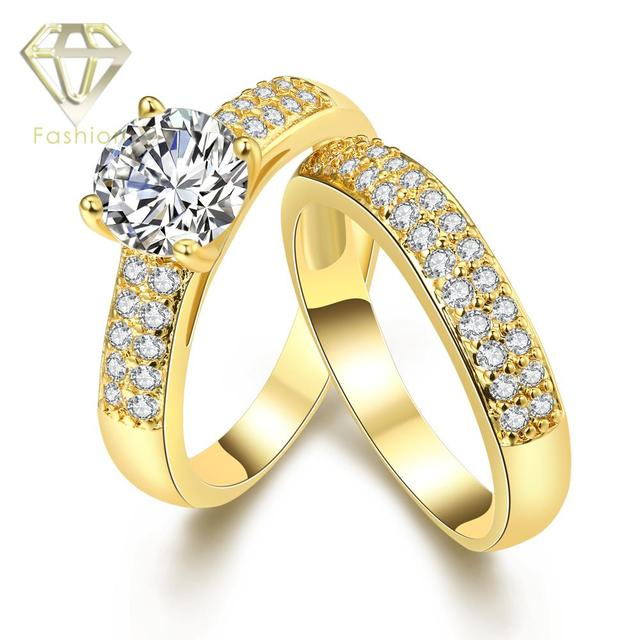 New Trendy Gold White Color Two Engagement Rings With CZ Fashion Wedding Jewelry