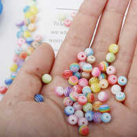 iMucci 100PCS 6mm Mixed Colorful Beads Round Evil Resin Eye Beads Stripe Spacer Beads Jewelry Fashion DIY Bracelet Gift for girl