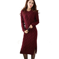 Fashion Winter 2017 Sweater Dress Women Clothes Ladies Long Sleeve Knitted O Neck Casual Dress Autumn