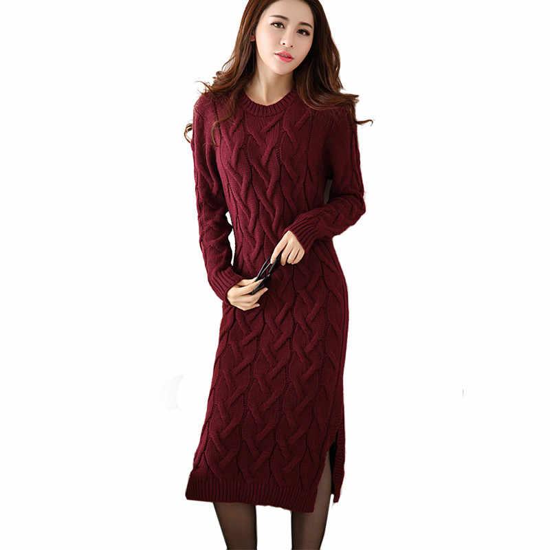 84c001765 Мода зима 2018 свитер платье Женская одежда дамы с длинным рукавом  трикотажные o-образным вырезом
