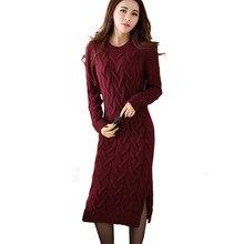 Мода зима 2017 Платья-свитеры женская одежда женские длинный рукав вязаный О-образным вырезом повседневные платья осень, для женщин Платья для вечеринок