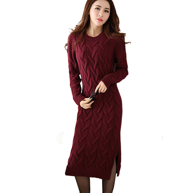 Fashion Winter 2018 Sweater Dress Women Clothes Ladies Long Sleeve Knitted O -neck Casual Dress Autumn Female Party Dresses 3c8b488d75a6