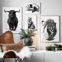 Cow Panda Fox Leopard Animals Wall Art Canvas Painting Nordic Posters And Prints Black White Wall Pictures For Living Room Decor chinese color pencil drawing animals fox crab parrot panda pig painting art book