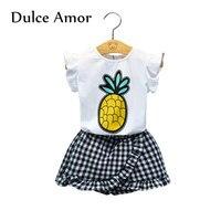 Dulce Amor Girls Clothes Set 2PCS Kids Clothing Summer Print Pineapple Shirt Tops Black White Plaid