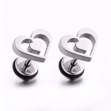 Фотография Cute Earring Love Shape Ear Stud Stainless Steel Ear Piercing Punk Fashion Jewelry for Woman Man 1 Pair