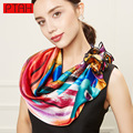 PTAH Small Square Pure Silk Print Floral Pattern Scarf For Women 2017 Fashion Luxury Brand Shawls Bufanda Ladies Mufflers 288