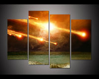 Cnavas Print Landscape 4 Pcs Large HD Printed Oil Painting Fire Meteors Modern Home Decor Wall