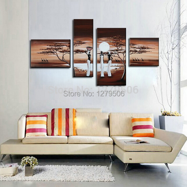 Hand Painted 4 Piece Set Oil Painting On Canvas Wall Decor South Africa Women Paintings For Living Room Home Decorations Buy At The Price Of 45 00 In Aliexpress Com Imall Com,South African Home Decor Magazines
