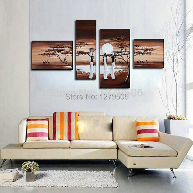 Hand Painted 4 Piece Set Oil Painting On Canvas Wall Decor South Africa Women Paintings