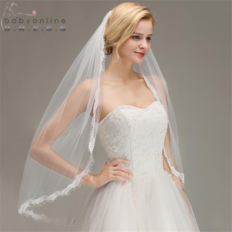 Wedding-Veil Comb Short Voile Mariage Tulle One-Layer Eyelash With Bridal Veu-De-Noiva