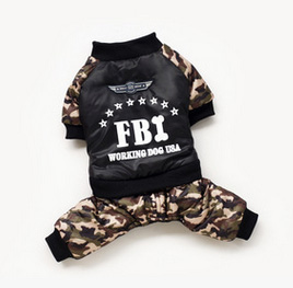 New arrival Wholesale 5pcs/lot S/M/L/XL/XXL leisure camouflage FBI pet dog warm coat jumpsuit for spring autumn winter