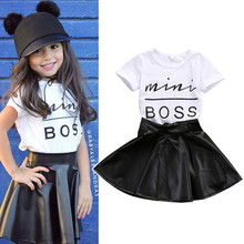 2019 Summer Kids Clothing Baby Girls Clothes Sets White T Shirt+PU Mini Skirts Fashion Children Clothes Toddler Baby Girl Dress цена 2017